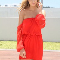 Red Off the Shoulder Chiffon Dress with Elastic Waist
