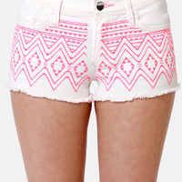 Roxy Carnivals Embroidered White Cutoff Jean Shorts