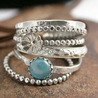 Sterling Silver Stacking Rings with Flower Bud by SimplyAdorning