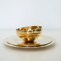Brass plates and bowl by SCAVENGENIUS on Etsy