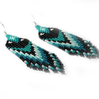 Native American Earrings Inspired. Mint, Teal, White, Black. Long Earrings. Beadwork