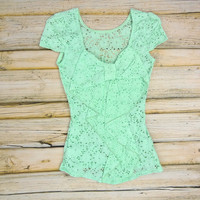 Cap Sleeve Lace Bow Back Top - Mint | .H.C.B.