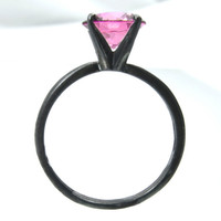 Pink Tourmaline Ring Solid Sterling Silver,Tiffany Set 8mm Pink Tourmaline Gemstone Ring, Stacking Ring
