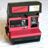 Polaroid Red Cool Cam 600 With Close Up - Vintage Instant Camera & Neckstrap