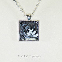 Photo Pendant Necklace, Black And White Rose Photo Pendant Necklace, Glass Tile Pendant Necklace, Photo Jewelry