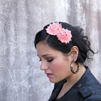 Adult Headband in Peach, Shabby Chic Flower Headband for Women and Teens