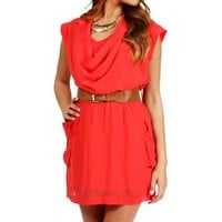 Coral Sheer Belted Shirt Dress