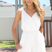 Ivory Sleeveless Playsuit with Open Cross Over Back