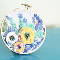 Vintage floral home decor embroidery hoop by makenziandmadilyn