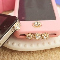A set of bling crystal anti dust, home button sticker, dock charge antidust for iphone 4S: Cell Phones & Accessories