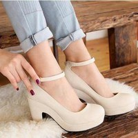Color rough with high heels, women&#x27;s singles shoes beige
