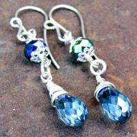 Crystal Earrings, Sterling Silver Wire Wrapped Blue Black Iridescent