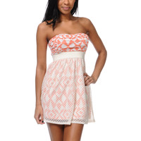 Lunachix Coral &amp; Cream Tribal Print Crochet Strapless Dress