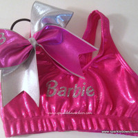Bar Bar Pink/Silver Metallic Sports Bra and Bow Set Cheerleading