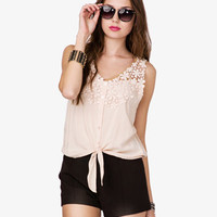 Self-Tie Crochet Top