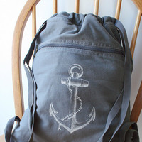 Anchor Backpack Gray Canvas Screen Printed