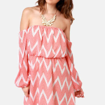 Play the Field Off-the-Shoulder Chevron Print Dress