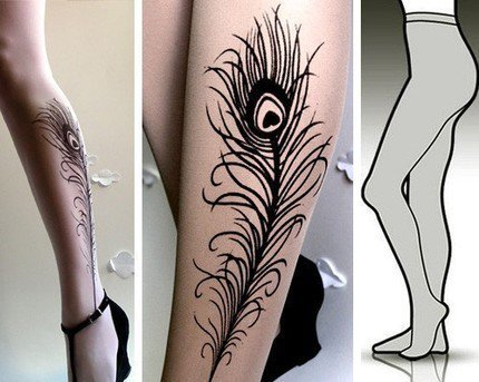 SMALL/MEDIUM sexy PEACOCK FEATHER tattoo tights / by post on Etsy