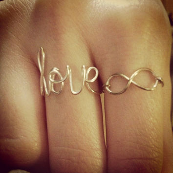 Infinity wire ring silver or gold plated