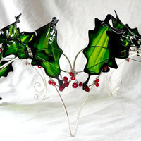 Holly crown in green and silver handmade by gringrimaceandsqueak