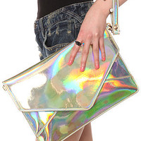 Melie Bianco The Janelle Clutch in Hologram Multi : Karmaloop.com - Global Concrete Culture