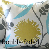 Large Dahlia Print Floral pillow cover 16 x 16 Double Sided