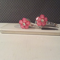 Pink Frosted Petal flower ear buds with  crystals