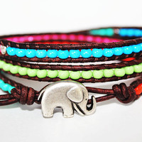 Elephant Bracelet Elephant Jewelry Leather by theredparachute