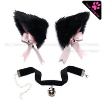 Black cat fox ears cute hair clip lolita bell choker gothic anime fancy cosplay