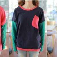 Korean Women Fashion matching colors Sweater #1034 Long Sleeve T-SHIRT TOPS