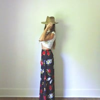 Maxi Skirt SALE  //  90s Does 70s Black Bold Large Floral Daisy Print Summer Skirt  //  Colorful Bohemian Long Skirt