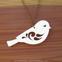 Sweet Little Bird Necklace  Laser Cut Necklace CAB by CABfayre