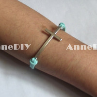Cross Bracelets - mint bracelet with Cross charm, bracelet for girlfriend, leather Bracelet, birthday gifts