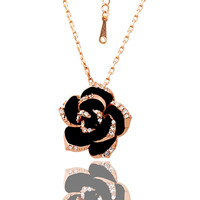 Black roses diamond necklace