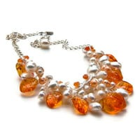 Orange Beaded Necklace, Bib Necklace, Bridal  Jewelry, Nature Jewelry