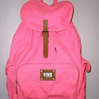 Amazon.com: Victoria's Secret Neon PINK School Canvas Handbag Backpack Book Bag Tote: Sports & Outdoors