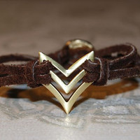 Chevron Bracelet  Chocolate Brown  Arrow  Native  by TwoOneButton