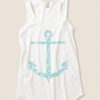 Lace Anchor Nautical Eco Friendly Racerback Tank Top