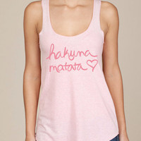Hakuna Matata Eco Heather Racerback Tank Top in Pink