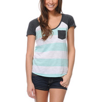 Zine Girls Mint & White Stripe Tee Shirt