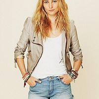 Free People  Double Breasted Vegan Leather Jacket at Free People Clothing Boutique
