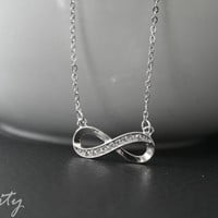 Silver Infinity Necklace with rhinestones