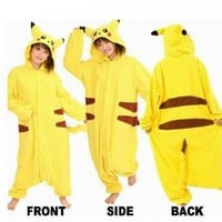 "Amazon.com: COS365 Pokemon Pikachu Kigurumi Pajamas Adult Anime Cosplay Halloween Costume ,size M (64""-68""): Toys & Games"