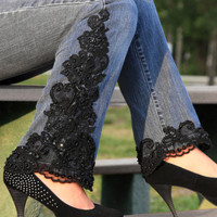Lace Appliqued Jeans by LaceJeans on Etsy