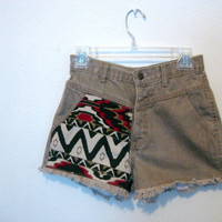 Tribal aztec brown high waisted shorts 27 inch by wildblacksheep