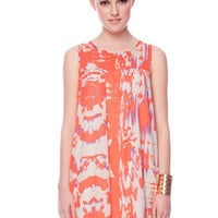 Kit Ikat Dress in Coral :: tobi