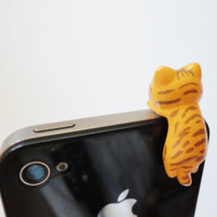 SALE 80-20%OFF: Cute orange tiger Cat // iPhone Plug . Phone Charm . Phone Plug . Dust Plug - Hand Painted, cat