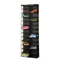 Over Door 26 Pair Shoe Holder - Black - Dorm closet shoe organizer hanging shoe organizer dorm room space saver campus essentials