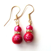 Red and Pink Spring Earrings - Red Glass, Fuschia Pink Pearl, Sparkly, Berries, Gold Earrings