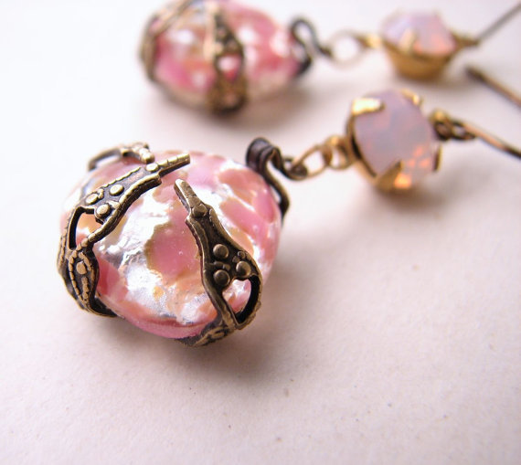 Peach pink pastel earrings with vintage art glass by shadowjewels